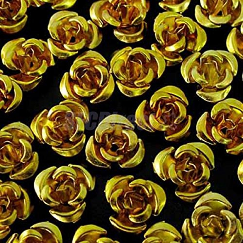 50pcs Aluminum Rose Flower Tiny Metal Beads 8mm Craft Jewelry Making #gold - Aluminum Flower Beads