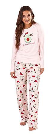 Lora Dora Womens Pyjamas Set Slogan Loungewear Cuffed Pjs Avocado Christmas  Small 24f6f3f27