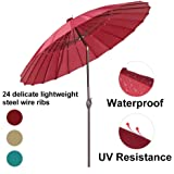 Abba Patio Outdoor Patio Umbrella 8.5 Feet Market Patio Table Umbrella with Push Button Tilt and Crank, 24 Steel Wire Ribs, Red