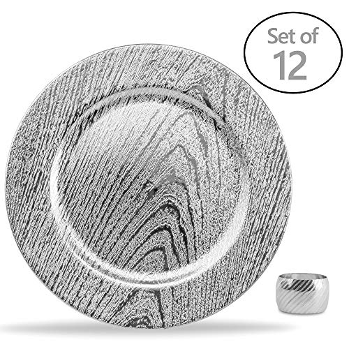 Home Collectives 13 Inch Round Elegant Serve ware Charger Plates with Matching Napkin Rings, Wedding, Dinner party, Event - Choose from our Variety of Styles and Quanties (12, Moslem Silver)