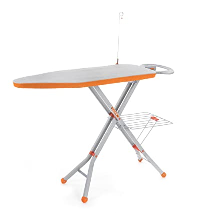 Bathla X-Press Ace Ironing Board with Multi-Function Tray/Wire Manager and Aluminised Ironing Surface (Grey and Orange)