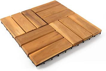 12 x 12 Inch 6 Angle 10P Villa Acacia Wood Interlocking Deck Tiles for Outdoor Patio and Floors