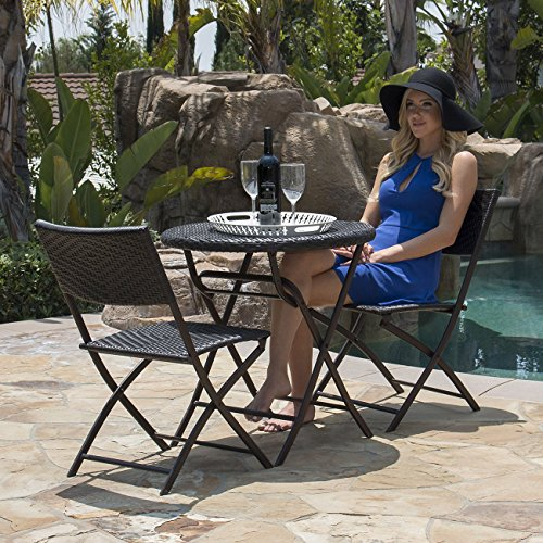 Belleze Folding Table & Chair Bistro Set Rattan Wicker Outdoor Furniture Seats Resin, 3-PC (Wicker Furniture Front Porch)