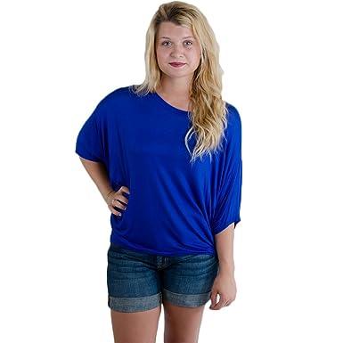 Amazon.com: Yahada Women's Solid Dolman Shirt Royal Blue: Clothing