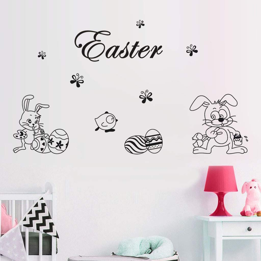Happy Easter Rabbit Vinyl Decal Art Wall Sticker DIY Home Room Decor