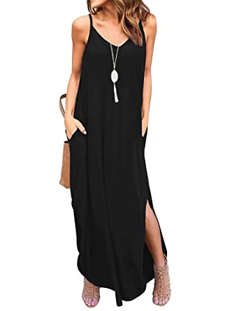 3a63c039fc Newchoice Womens Spaghetti Strap Casual Summer Dress Loose Solid Maxi  Dresses with Pockets (Black