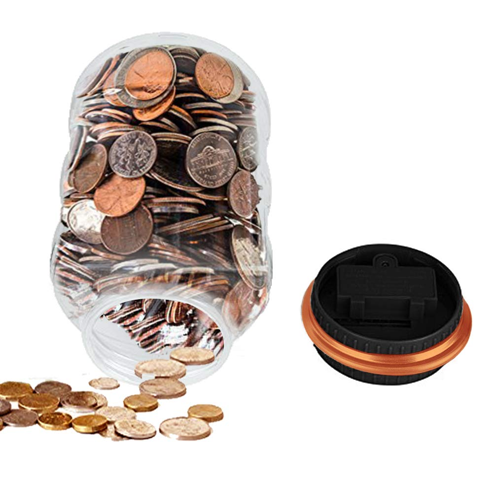 HeQiao Clear Digital Coin Bank Savings Jar Automatic Coin Counter for All U.S. Coins (Orange)