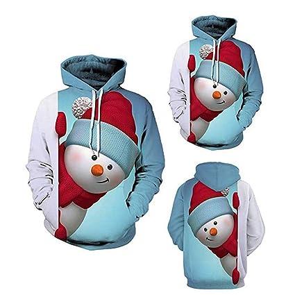 Hombre Unisex 3D Impreso Arte Suéter Cuello Redond Unisex Muñeco de nieve Sudadera con capucha de