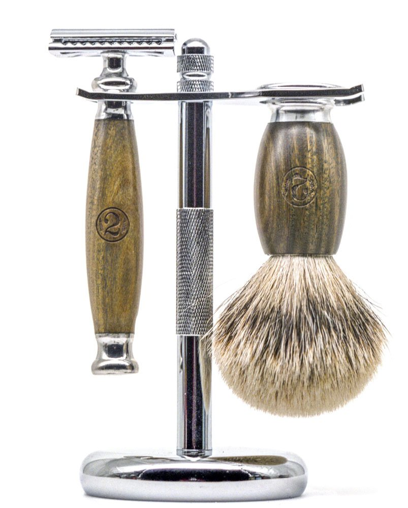 Sandalwood Safety Razor Set for Men - Classic Safety Razor Style Shaving Razor Set Complete with Shaving Brush and Stand