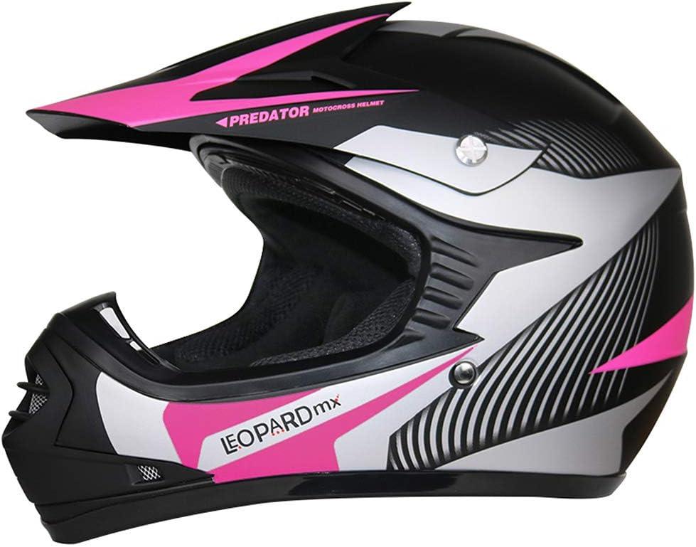 Brille} Kinder Motorradhelm Full Face MX Helmet M/ädchen Jungen Dirt Bike Leopard {Kinder MotocrossHelm Handschuhe