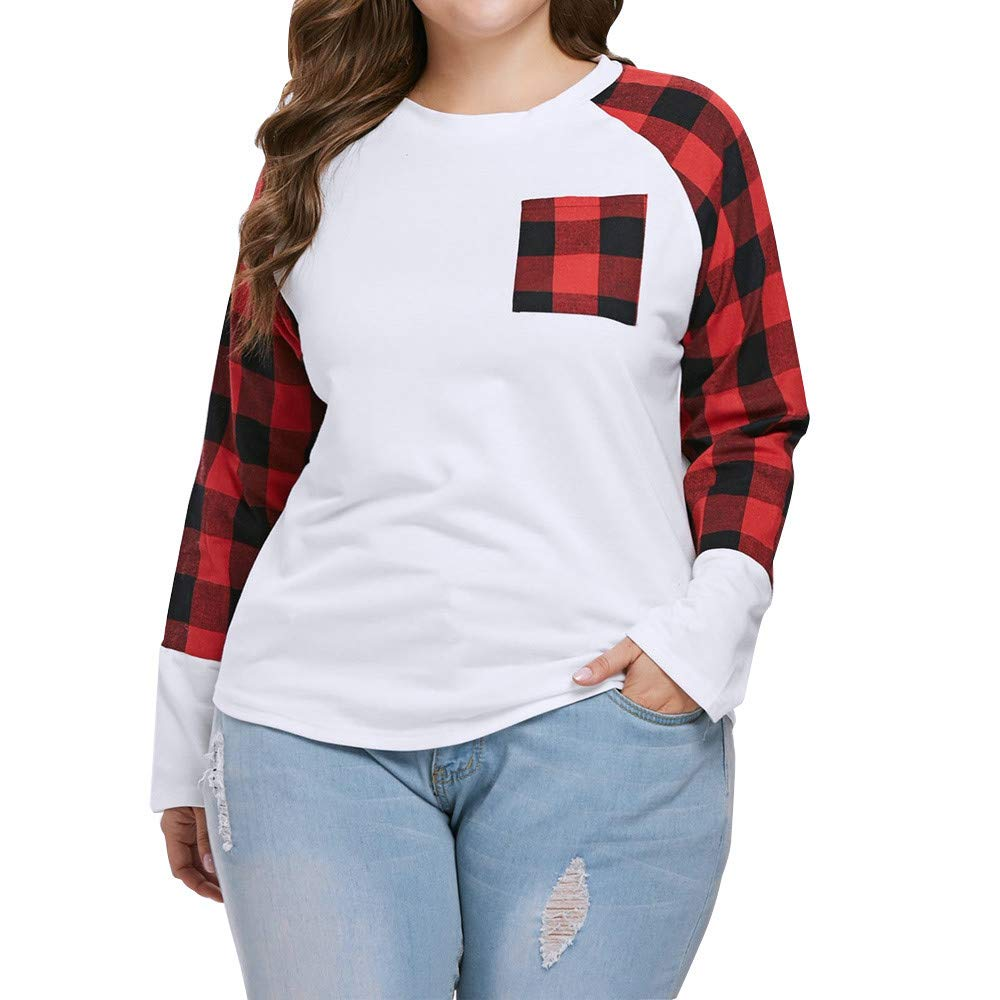 f5fbf8487b18f0 HOSOME Women Plaid T Shirt Casual Plus Size Long Sleeve O Neck Pockets Top  Blouse at Amazon Women s Clothing store