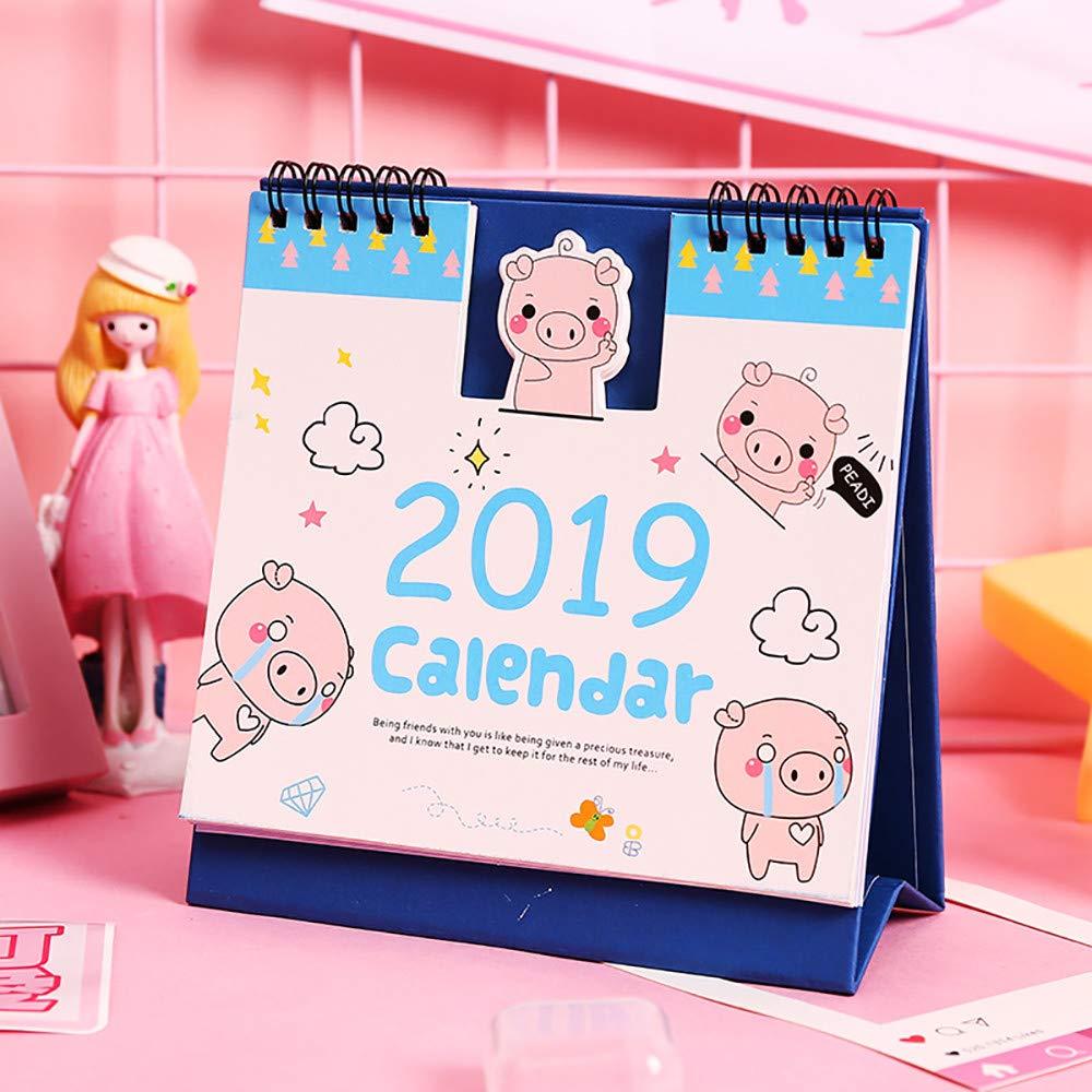 Desk Calendars Standing Tent Calendars Standing Coil Calendar Memo Daily Schedule Table Planner Pig 2019 (Sky Blue)