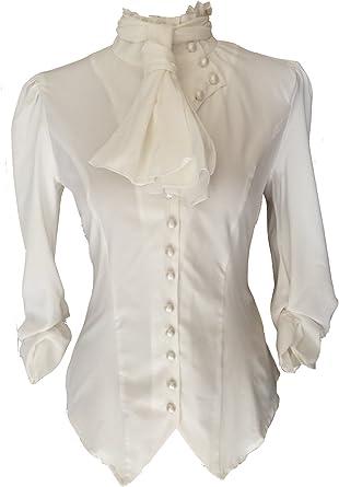 Blusa con botones estilo steampunk gótico victoriano pirata con volantes, color blanco y marfil: Amazon.es: Ropa y accesorios