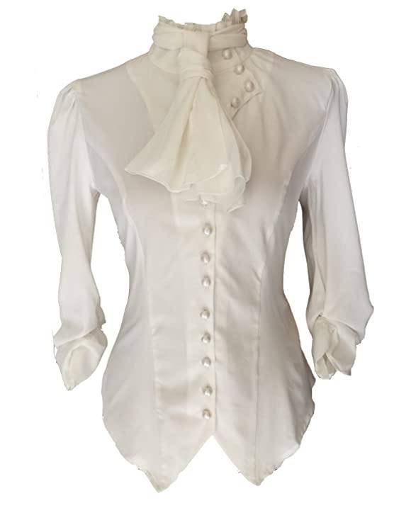 Steampunk Tops | Blouses, Shirts White Ivory Steampunk Gothic Victorian Pirate Cravat Ruffle Vamp Button Blouse Top £29.99 AT vintagedancer.com