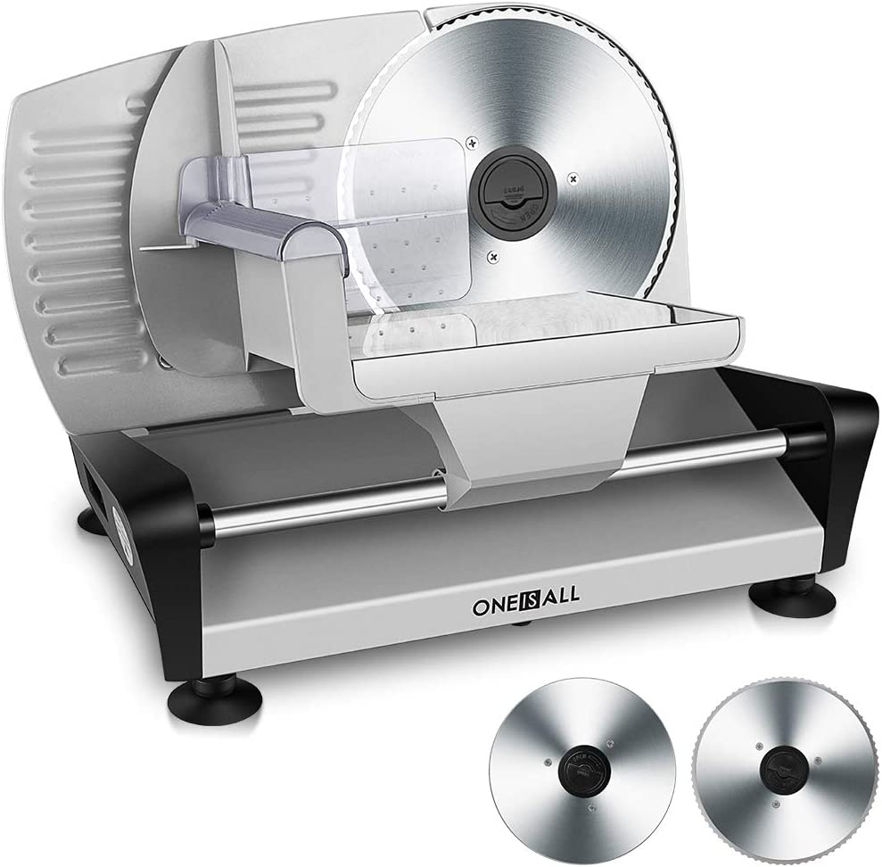 "Meat Slicers Electric, Food Deli Slicers with Two 7.5"" Serrated Stainless Steel Blade Upgrade Precisely Cuts Meat, Cheese, Bread, Fruit & Veggies"