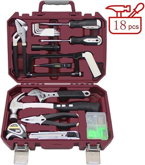 WSJ Kit de herramientas pequeñas de 18 piezas, mini juego de herramientas portátil, reparación del hogar con caja de herramientas de plástico caja de almacenamiento: Amazon.es: Deportes y aire libre