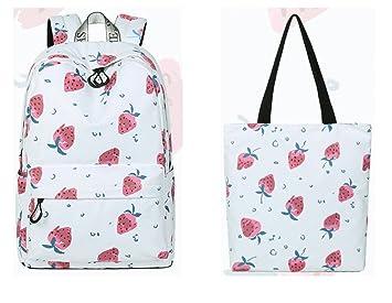 Lindo mujeres impermeable Mochila escolar fresa imprimir patrones de viaje de gran capacidad Girls College Bookbag rojo 15 pulgadas: Amazon.es: Equipaje
