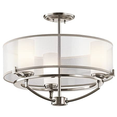 Kichler 42923CLP, Saldana Mini Glass Chandelier Light, 3LT, 150 Watts Halogen, Classic Pewter