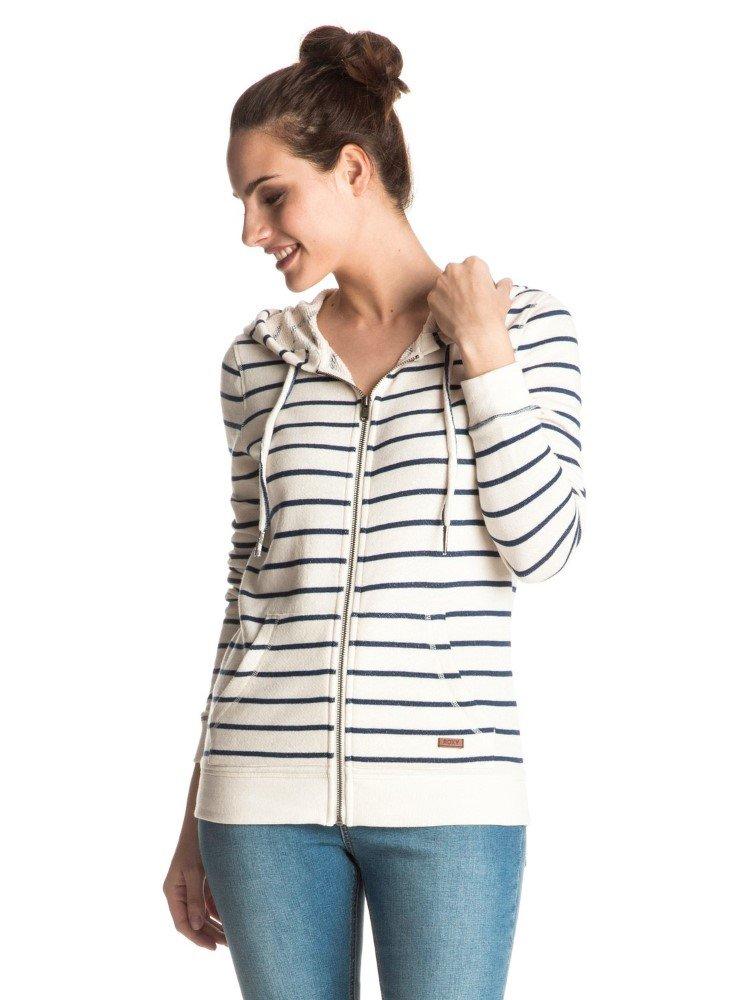 Roxy Junior's Signature Stripe Full Zip Fleece Hoodie, Marshmallow Signature, L