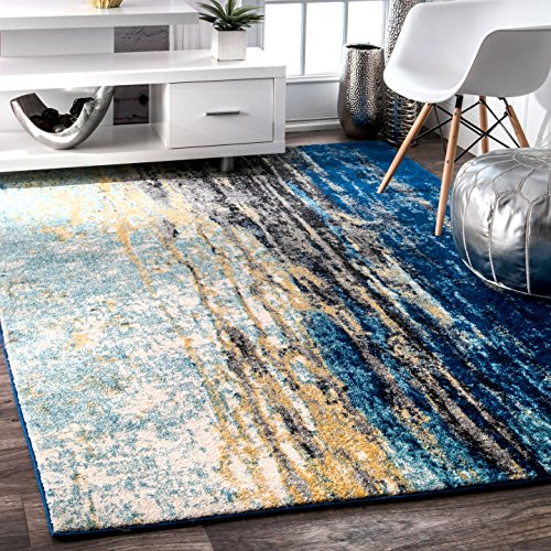 nuLOOM Traditional Waterfall Vintage Abstract Area Rug, 5 x 7 5 , Blue