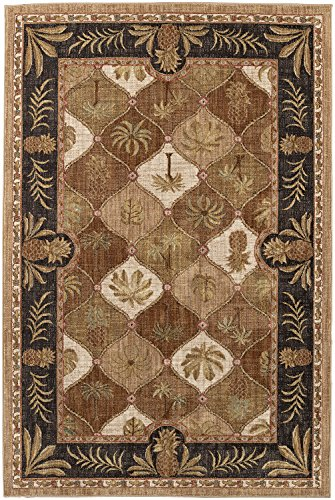 Mohawk Destinations Boca Palms Citron Tropical Floral Woven Area Rug, 8'x11', Brown