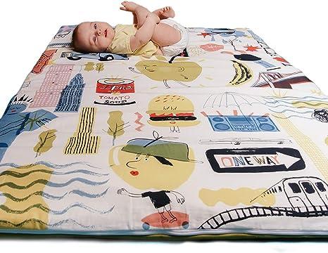 Manta de juegos para bebés acolchada plegable enrollable gimnasio suelo actividades alfombra Tamaño único 130x90 cm Fabricada en España Decoracion Regalo bebe (Big Apples): Amazon.es: Bebé