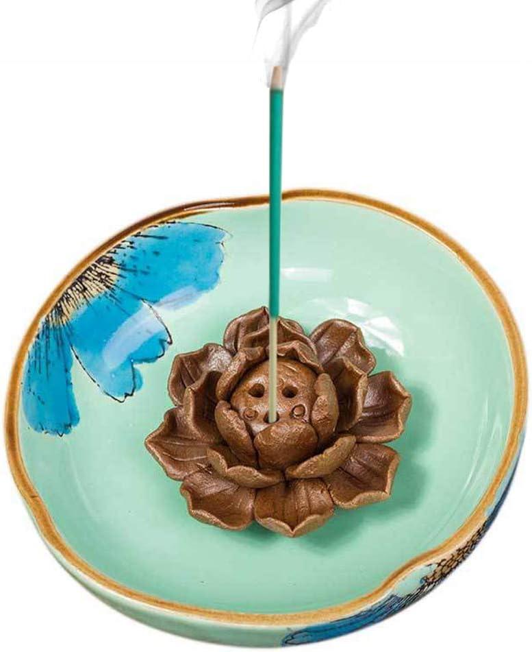 Xiao Incense Stick Burner Holder-Ceramic Hand Painted Decorative Lotus Incense Burner Leaf-Incense Ash Catcher Tray Sky Blue (Green)