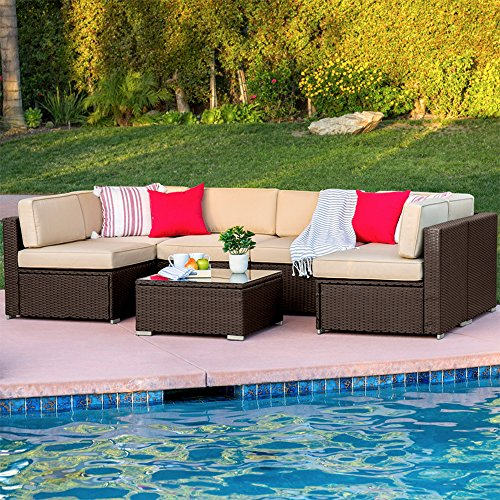 Best Choice Products 7-Piece Modular Outdoor Sectional Wicker Patio Furniture Conversation Set w/Cover, Seat Clips, 6 Chairs, Coffee Table - Brown