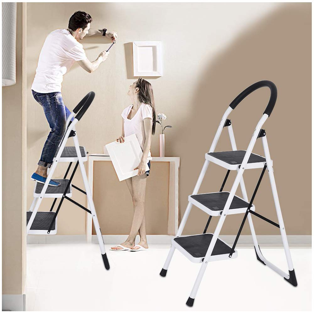 Folding 3 Step Stool Ladder | Lightweigh Portable Multi-Use Steel Frame Step Stool |Space Saving Stepladders with Rubber Handgrip& Wide Pedal for Household Market Office (1PC White 3Step Stool Steel) by Leadmall
