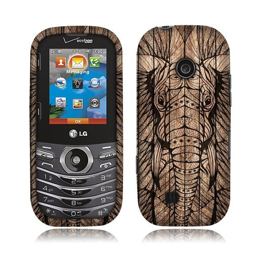 Nextkin LG Cosmos 3 VN251S Hard Plastic Snap On Protective Cover Case - Elephant Head Aztec Wooden