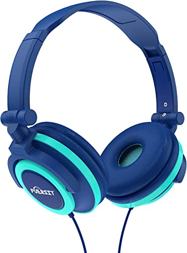Puersit Kids Headphones for Children Stereo Foldable Adjustable On Ear Headsets 3.5mm Jack for iPad Cellphones Computer MP3 4 Tablet Kindle Blue