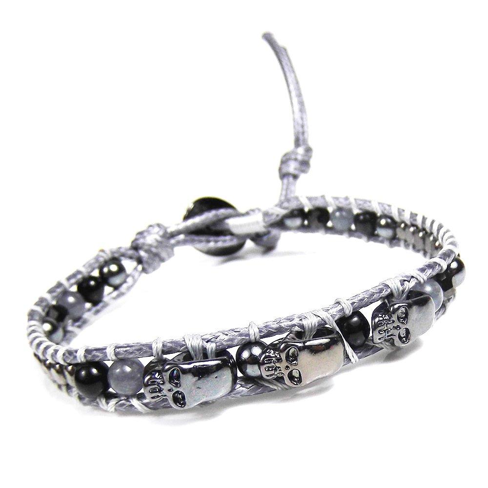 Three Menacing Skulls Black Stones Single Strand Bracelet