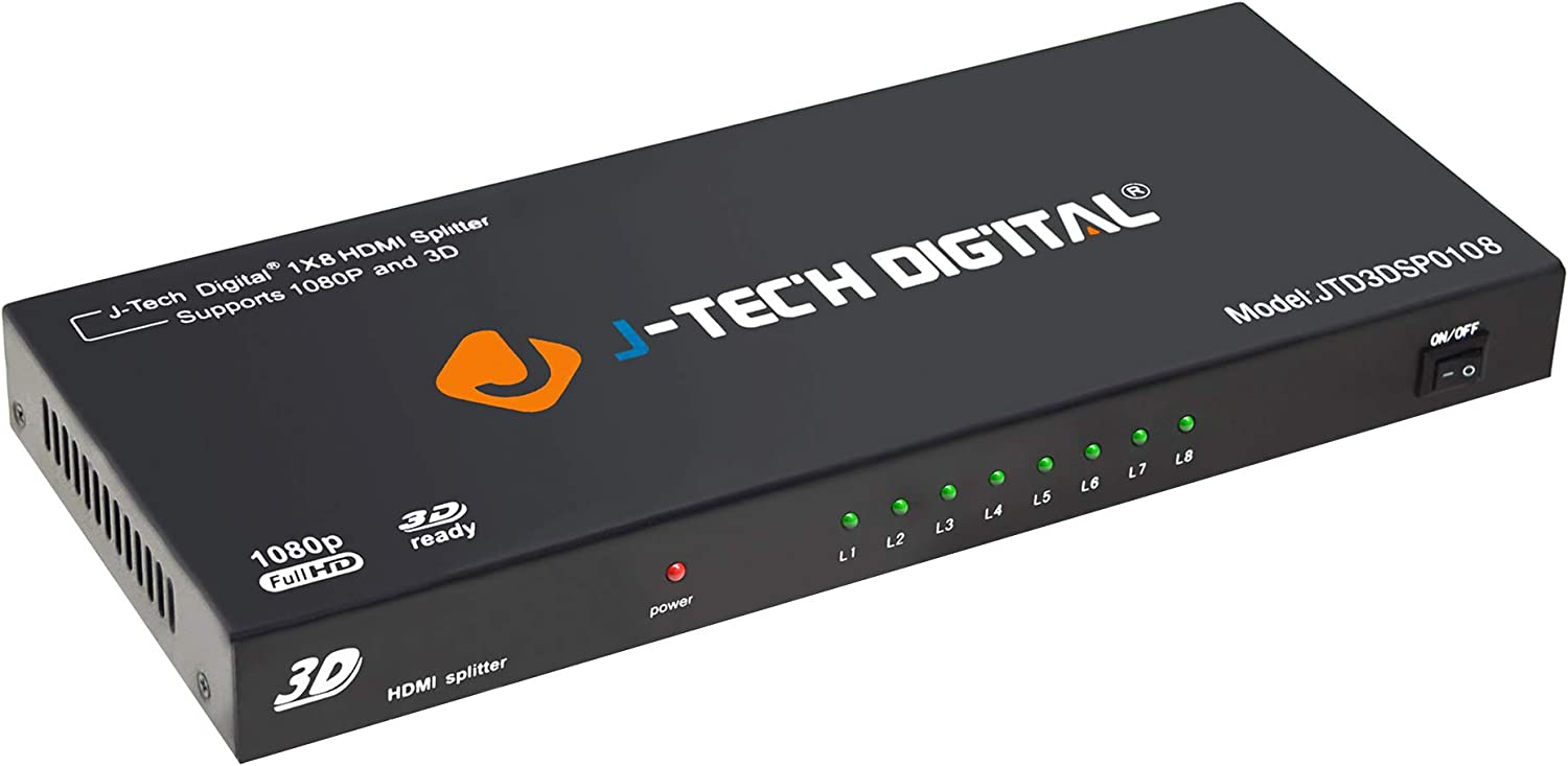 J-Tech Digital JTD0104//4K Most Advanced 4 Ports HDMI 1X4 Powered Splitter Support Ultra HD 4K 3840 A 2160 Resolution and 3D