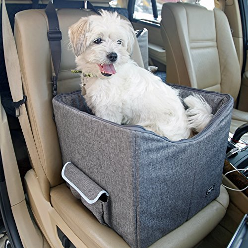 Petsfit Pet Booster Seat/Lookout Car Seat for Small Dogs and Cats up to 15 Pounds,With Pockets (Gray) 15''Lx16''Wx14''H Small by Petsfit (Image #2)
