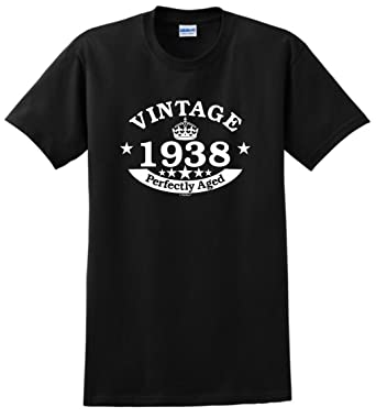80th Birthday Decorations Gift Vintage 1938 Perfect Aged Crown T Shirt Small Black