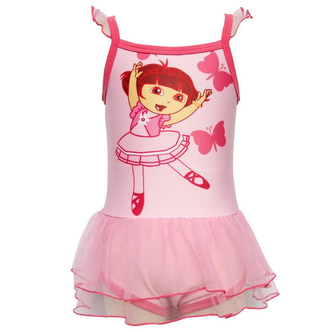 Dora Little Girls Sleeveless Cartoon Printing Polyester Swimsuits 2-8Y Tiful