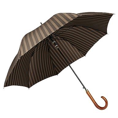 4d77cbe22 Kobold Auto Open Walking Stick Umbrella Windproof Wood Crook Handle - Mens  Bigger Strips, One