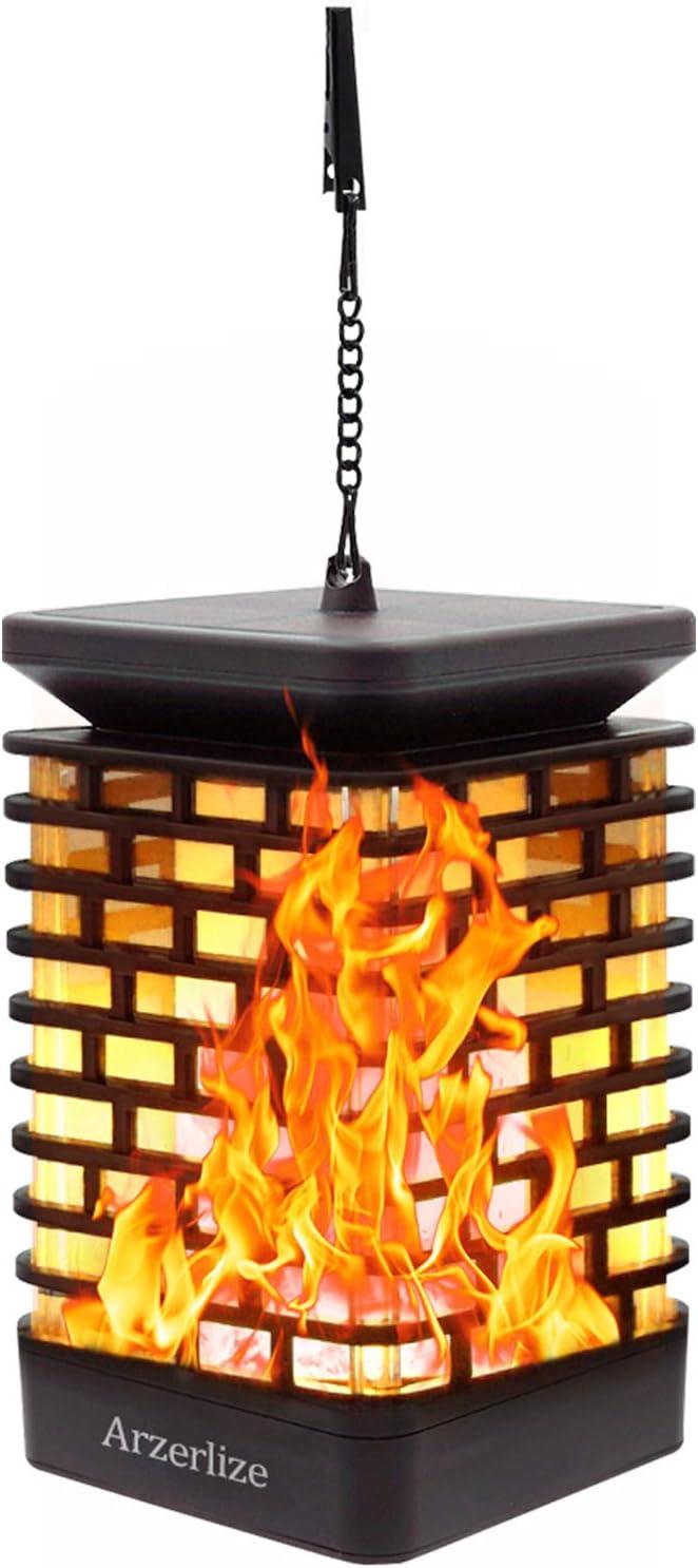 arzerlize Solar Flame Lantern Solar Powered Outdoor Lantern Hanging Lights Garden Decorations Yellow 1//P