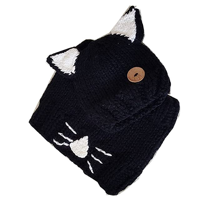 96bf9eeca05 Cute Animal Ear Cat Ear Hat and Scarf Set Winter Beanies Knitted Cap For  Baby Toddlers