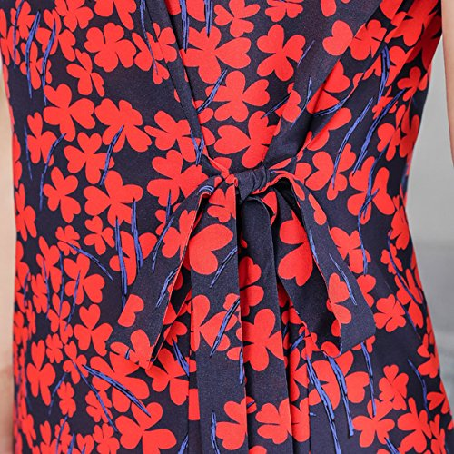 Abendkleid Cocktail Damen Midi DISSA Kleider Seide S2828 Übergröße Rot Gestreift Kleid w7Hqz6qxa