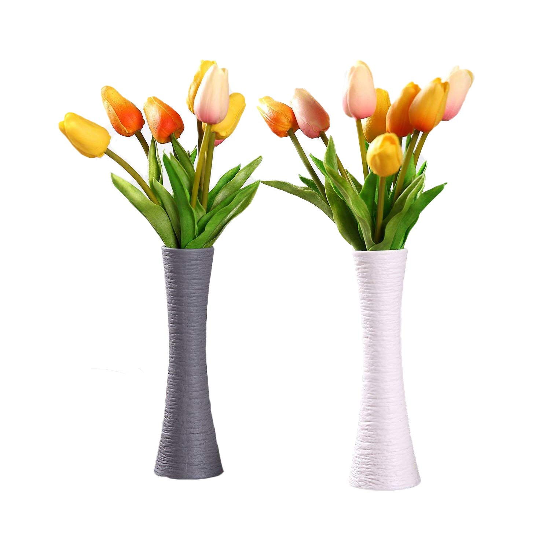 225 & ComSaf Ceramic Bud Vases Unglazed Unique Flower Arrangement Vase Floreros for Home Decor Pack of 2