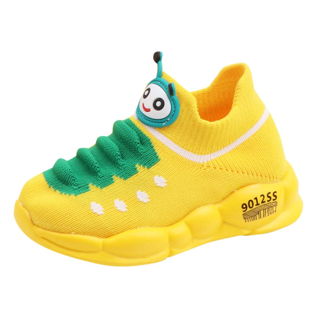 Kauneus Girls Boys Super Cute Fun Sport Sock Shoes for Kids Breathable Knit Lightweight Comfy Stretch Running Sneakers Yellow by Kauneus Kid Shoes NEW