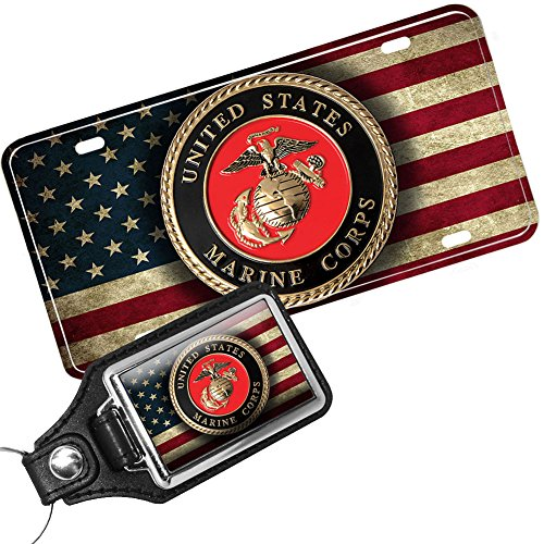 US Marine Corps American Flag License Plate and Matching Key Ring - Marines License Plate