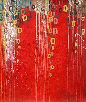 Tableau rouge abstrait en 60/90 cm. Peinture sur toile verticale ...