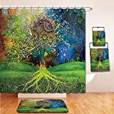 LiczHome Bath Suit: Showercurtain Bathrug Bathtowel Handtowel Indian Tapestry Decor Tree in the Valley with Spiral Branch Balance in Mother Earth Zen Art Illustration Green Blue