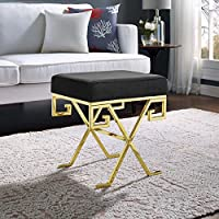 Modway EEI-2877-GLD-BLK Twist Velvet Bench, Gold Black
