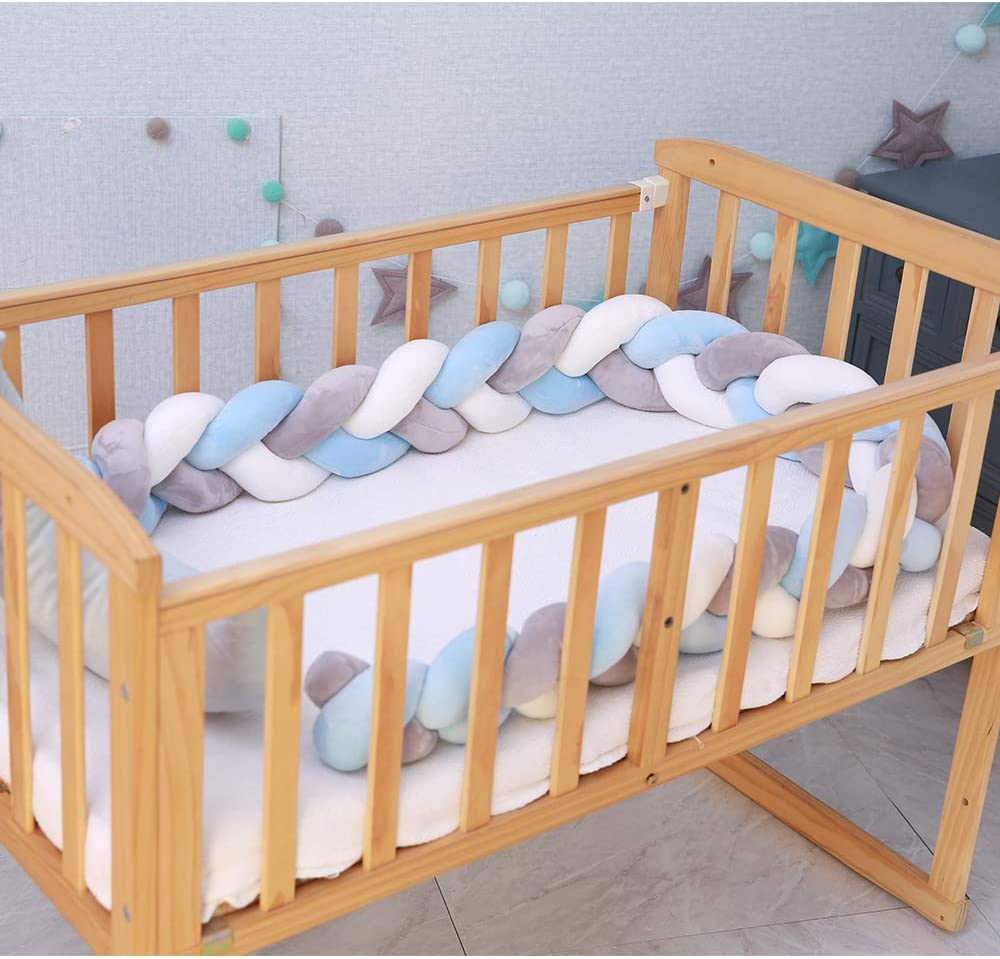 Lion Paw Crib Bed Bumper Pillow Cushion 78.7in Crib Sides Protector Infant Cot Rails Newborn Gift Knotted Braided Plush Nursery Cradle Decor White-Blue-Gray 78.7in