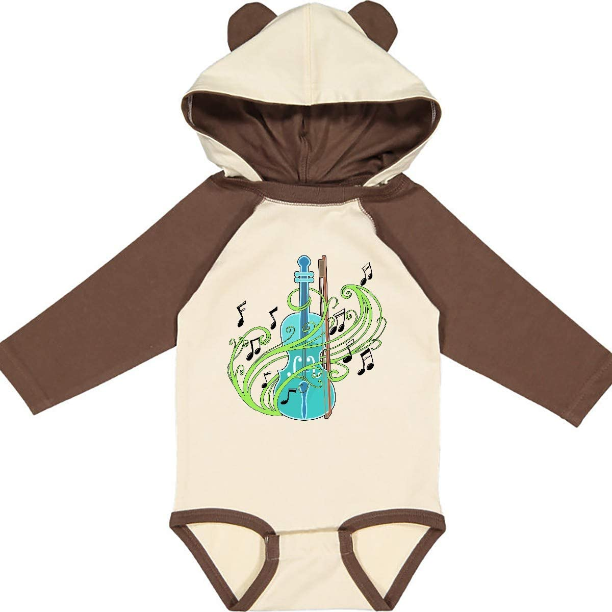 inktastic Violin with Musical Notes and Swirls Long Sleeve Creeper