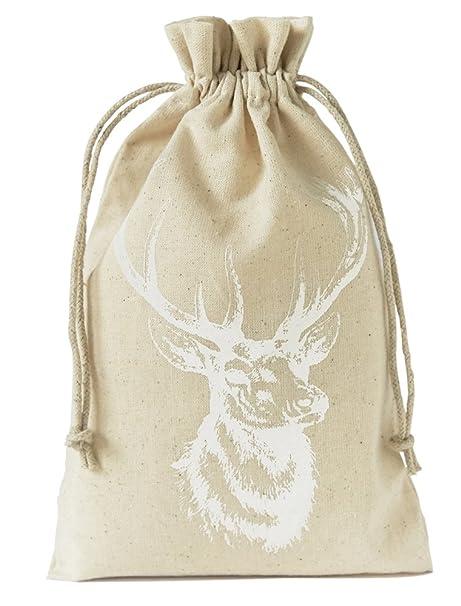 10 bolsas de lino con estampado de ciervo y cordón para ...