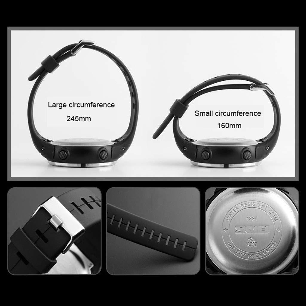 Digital sport elektronisk klocka, vattentät lysande med nedräkningen stoppur kompass multifunktion utomhus för herrklocka – flerfärgad Svart
